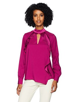 Parker Women's Cianni Long Sleeve Asymmetrical Ruffle Blouse by Parker