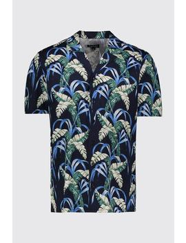 Cobalt Palm Print Oversized Short Sleeve Shirt by Boohoo