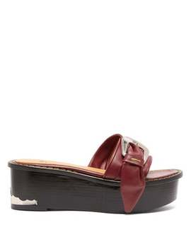 Leather Flatform Mule Sandals by Toga