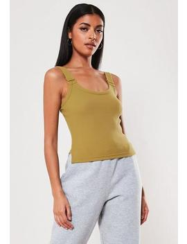 Khaki Ribbed Buckle Cami Top by Missguided