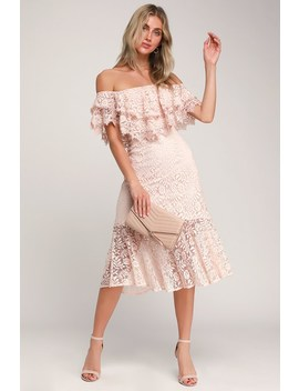 Jaclyn Blush Pink Lace Off The Shoulder Midi Dress by Lulus