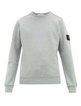 logo-patch-fleece-backed-cotton-sweatshirt by stone-island