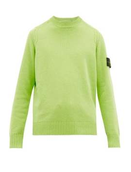 Logo Patch Cable Knit Wool Blend Sweater by Stone Island