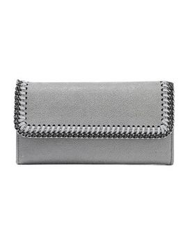 Falabella Chain Trimmed Faux Suede Continental Wallet by Stella Mc Cartney
