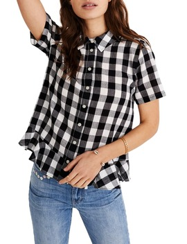 Gingham Peplum Button Down Shirt by Madewell