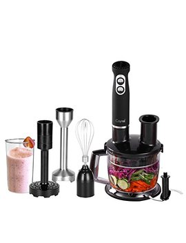 Caynel 6 In 1 500 W Immersion Hand Blender Set, 8 Variable Speeds With Turbo Setting, Includes 1500ml Chopper, Whisk, Potato Masher, Beaker, Multi Food Processor And Hand Mixer Sets For Smoothies, Baby Food, Soup, Vegetables And Fruits, Bpa Free by Caynel