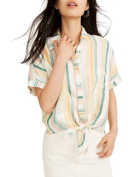 pineapple-stripe-linen-tie-front-shirt by madewell
