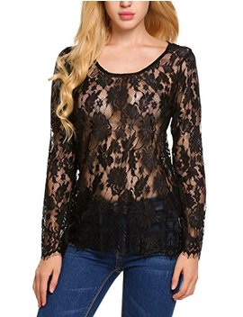 Zeagoo Women's Long Sleeve Sexy Sheer Floral Lace Blouse Top S 3 Xl by Zeagoo