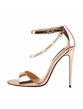 Onlymaker Womens Beaded Chain Ankle Strappy Stilettos High Heel Sandals Open Toe Single Band Pearl Sandals Shoes by Onlymaker