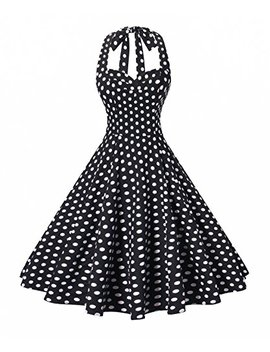 V Fashion Women's Rockabilly 50s Vintage Polka Dots Halter Cocktail Swing Dress by V Fashion