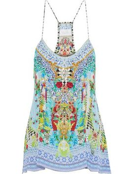 Shades Of Rio Crystal Embellished Printed Silk Crepe De Chine Camisole by Camilla