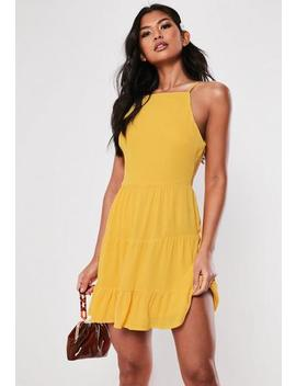 Mustard Square Neck Crinkle Skater Dress by Missguided
