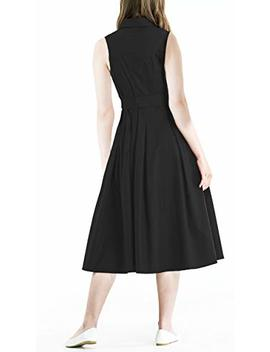 Zredurn Women's Elegant Pleated Shirt Dress With Long Sleeve Pleated Belted A Line Dress Style by Zredurn