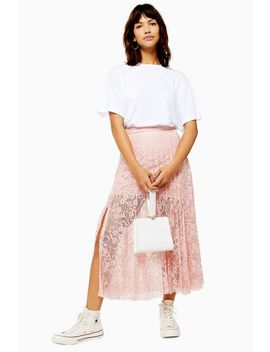 pleated-lace-midi-skirt by topshop