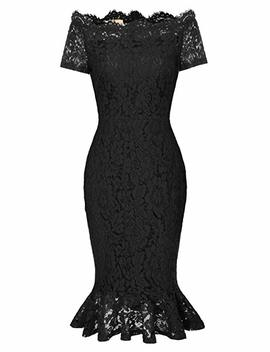 Grace Karin Retro Floral Lace Boat Neck Short Sleeve Mermaid Slim Pencil Dress by Grace Karin