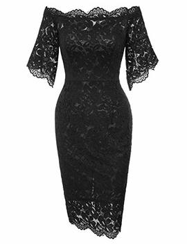 Grace Karin Women's Vintage Floral Lace Off Shoulder Short Sleeve Pencil Dress by Grace Karin