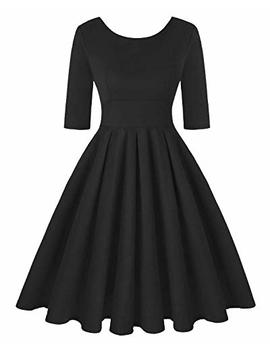 Mintlimit Women's 1950s Retro Vintage Cocktail Party Short Sleeve Swing Dress by Mintlimit