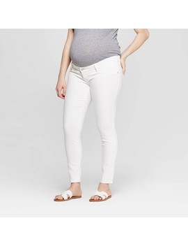 Maternity Inset Panel White Skinny Jeans   Isabel Maternity By Ingrid &Amp; Isabel White by Isabel Maternity By Ingrid & Isabel White