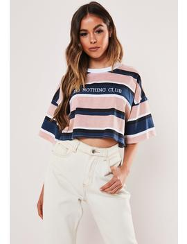 pink-stripe-do-nothing-club-crop-t-shirt by missguided