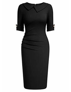 Aisize Women's 1950s Vintage Asymmetric Collar Half Sleeve Pleated Pencil Dress by Aisize