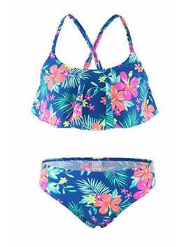 Girls Two Piece Tankini Swimsuit Hawaiian Ruffle Swimwear Bathing Suit Set by How Jo Jo