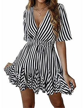 Shibever Summer Sexy Mini Wrap Dresses For Women V Neck Beach Casual Striped Polka Dot Ruffle Hem Pleated Boho Sun Dress by Shibever