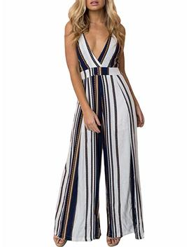 Swmmer Liket V Neck Strip Spaghetti Strap Backless Bow Tie Womens Jumpsuit Rompers by Swmmer Liket