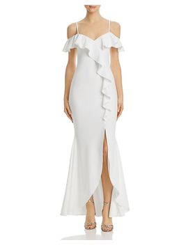 Ruffled Cold Shoulder Gown   100% Exclusive by Aqua