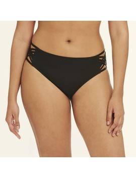 Women's Slimming Control Strappy Bikini Swim Bottom   Black   Beach Betty By Miracle Brands™ by Black