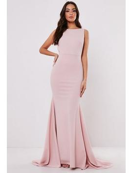Tall Bridesmaid Blush Sleeveless Low Back Maxi Dress by Missguided