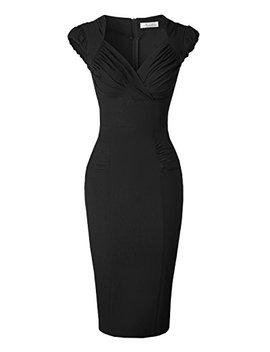 Newdow Lady's 50s Vintage V Neck Capsleeve Pencil Dress by Newdow
