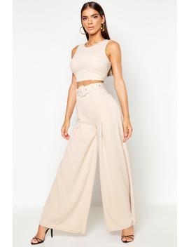 wide-leg-self-belt-trouser by boohoo