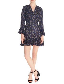 Milly Chain Print Ruffle Detail Long Sleeve Mini Dress by Sandro