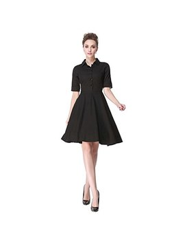 Heroecol Vintage 1950s 50s Dress Style Retro Rockabiily Cocktail Polo Neck by Heroecol