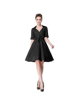 Heroecol Vintage 1950s 50s Dress Style Retro Rockabiily Cocktail V Neck by Heroecol