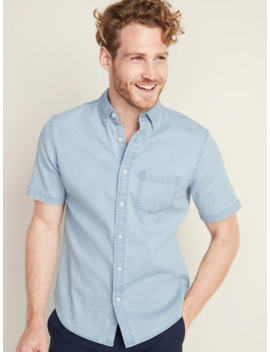 Slim Fit Built In Flex Chambray Shirt For Men by Old Navy