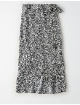 Ae High Waisted Leopard Wrap Midi Skirt by American Eagle Outfitters