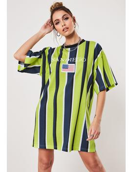 lime-stripe-oversized-san-diego-t-shirt-dress by missguided