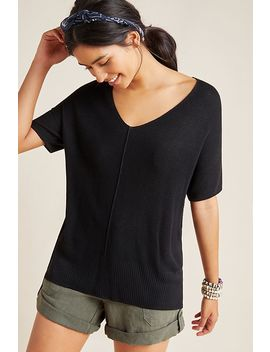 Lola V Neck Ribbed Pullover by Anthropologie