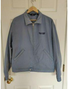 Vtg Polo Sport Ralph Lauren Denim Khaki Painter Work Jacket Snap Button Zip Mens by Polo Sport