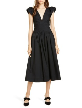 plunging-poplin-midi-dress by la-vie-rebecca-taylor