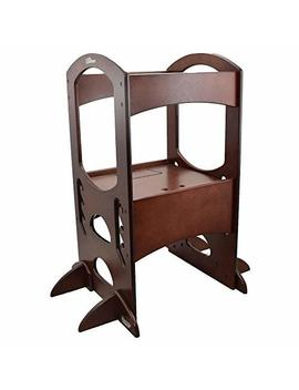 little-partners-learning-tower-kids-step-stool-|-adjustable-kitchen-helper-step-up-(dark-cherry) by little-partners