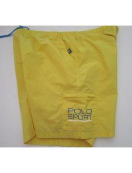 Mens Xl Polo Sport Ralph Lauren Spell Out Yellow Swim Trunks Shorts Vtg 2 Xl by Polo Sport
