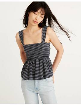 Texture &Amp; Thread Smocked Peplum Tank Top In Stripe by Madewell