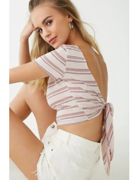 Striped Open Back Crop Top by Forever 21