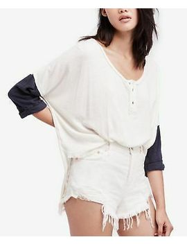 Free People $68 Womens New 1515 Ivory Henley Destroyed Hem Top Xs B+B by Free People