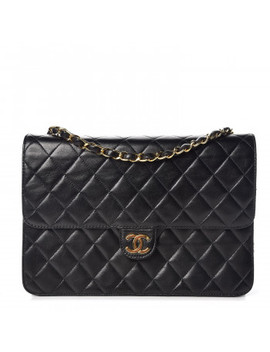 Chanel Lambskin Quilted Medium Single Flap Bag Black by Chanel
