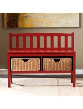 Copper Grove Gallica Red Bench With Storage Baskets by Copper Grove