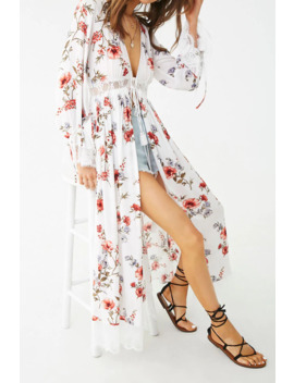 Floral Print Self Tie Cardigan by Forever 21