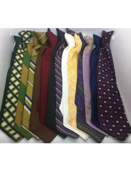 "14 Vintage Clip On Men's Neck Ties Sears Snapper Pietro Wembley Mostly 4"" #19 D by Ebay Seller"